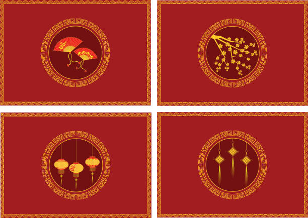 Red packets for Chinese New Year vector art illustration