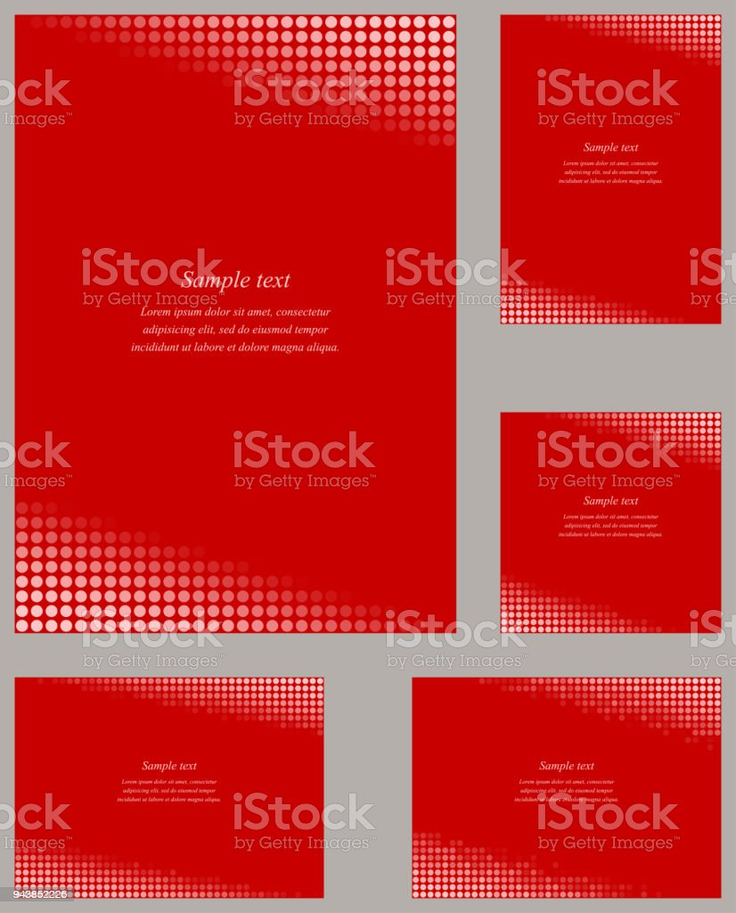 Red Page Corner Design Template Set Stock Illustration - Download