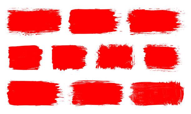 stockillustraties, clipart, cartoons en iconen met rode verf acril, inktset grunge brush, lijnen, vlekken, banners, frame, designelementen. - aaien