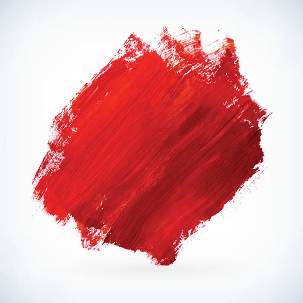 red paint artistic dry brush stroke vector background - acrylic painting stock illustrations