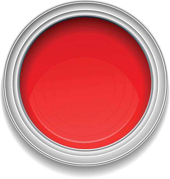 Red paint can Red paint can on white background. paint can stock illustrations