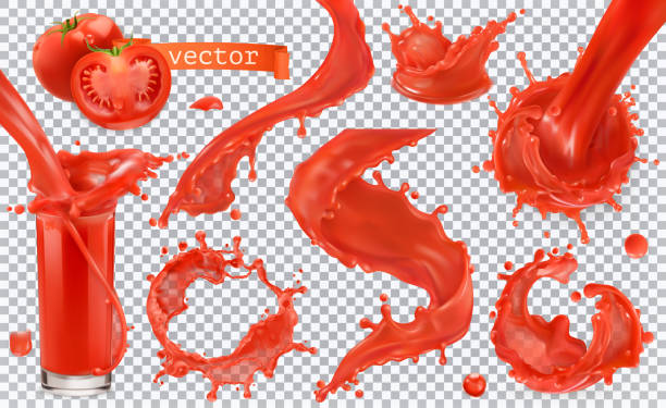 red paint splash. tomato, strawberries. 3d realistic vector icon set - vegetable blood stock illustrations, clip art, cartoons, & icons