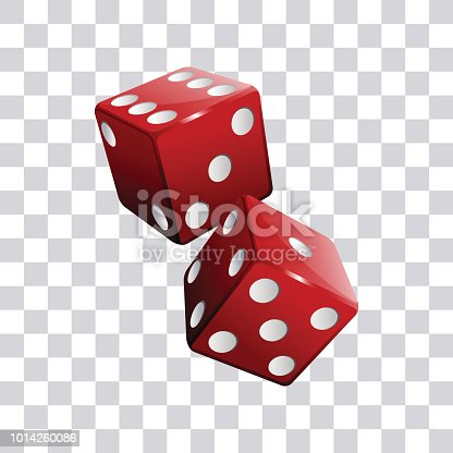 Red pair of casino dice transparent background vector illustration