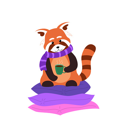 Red panda with a cup of tea