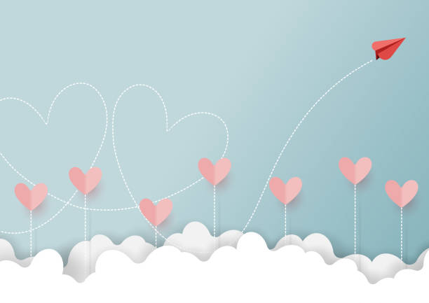 red paper airplane flying on cloud - valentine card stock illustrations