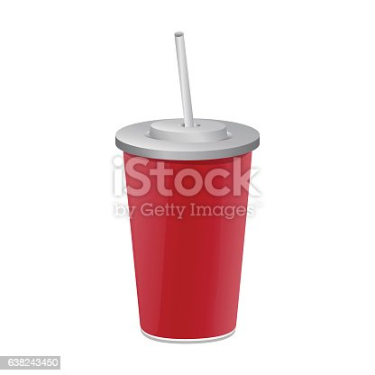red paper cup template for soda のイラスト素材 638243450 istock