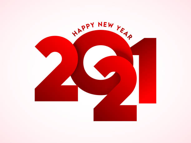 Red Paper Cut 2021 Text on White Background for Happy New Year Celebration. vector art illustration