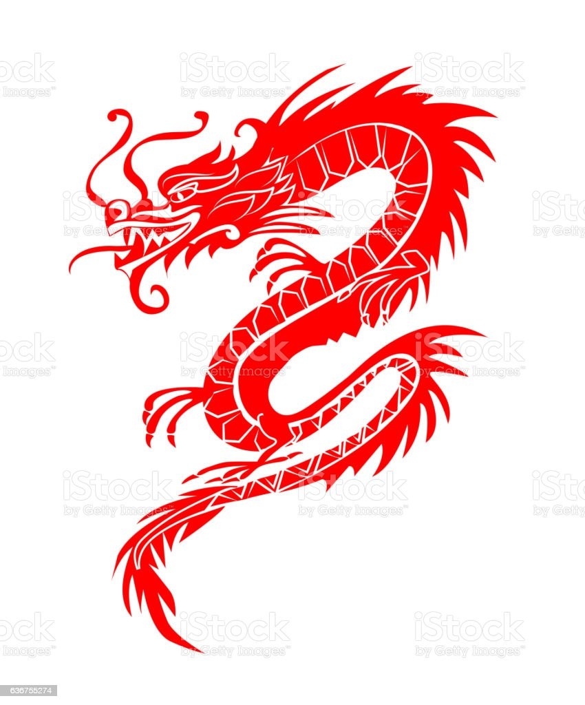 Red paper cut out of a Dragon china zodiac symbols vector art illustration
