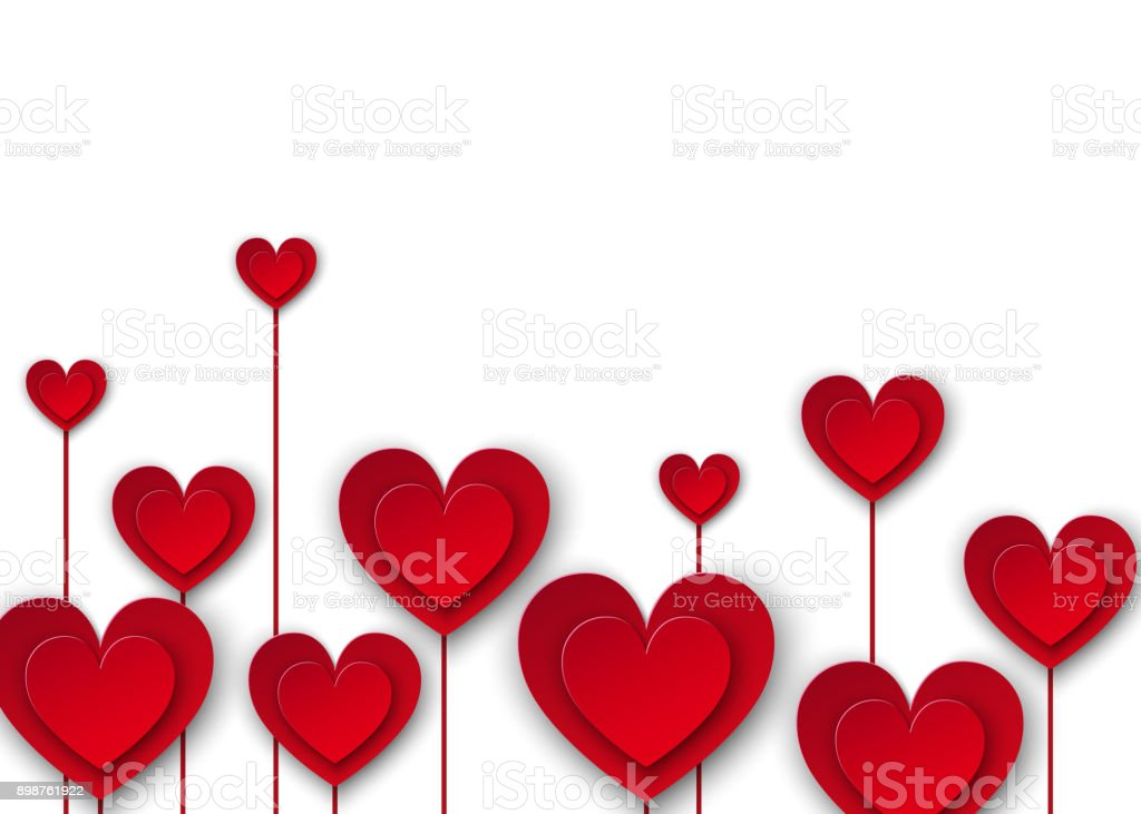 Red paper flowers in the form of hearts on white background love red paper flowers in the form of hearts on white background love weeding decoration mightylinksfo