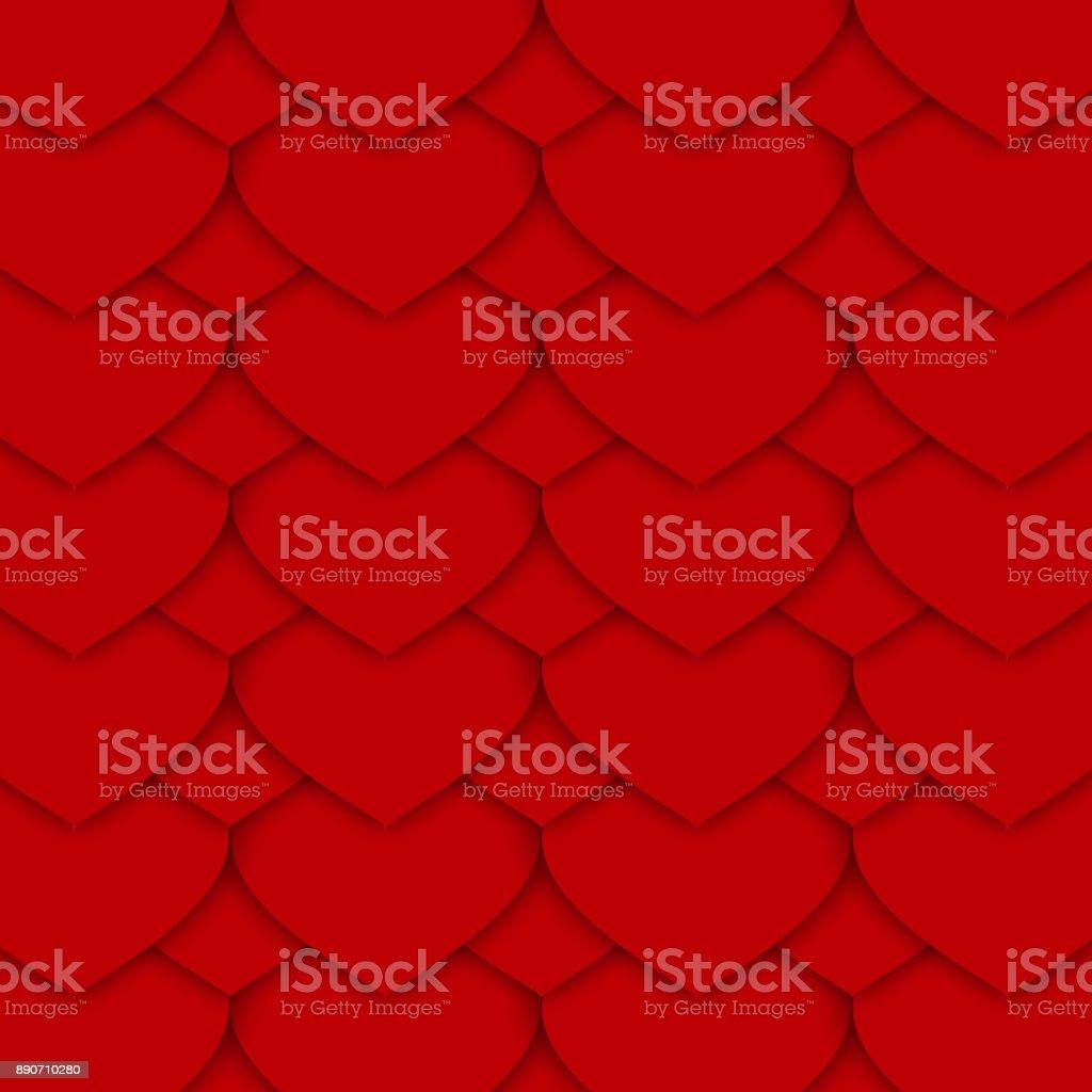 Red Paper Hearts Pattern vector art illustration