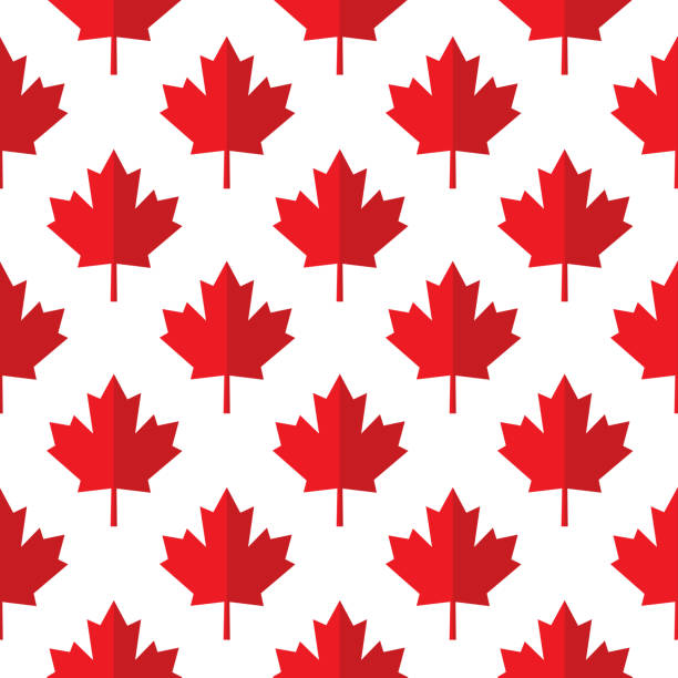 red Paper Maple Leaves Seamless Pattern Vector seamless pattern of red folded paper maples leaves on a white background. canada day illustrations stock illustrations
