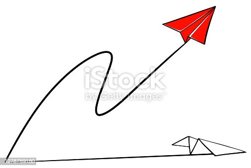 istock Red paper plane takes off . Competition and winning one 1278759180