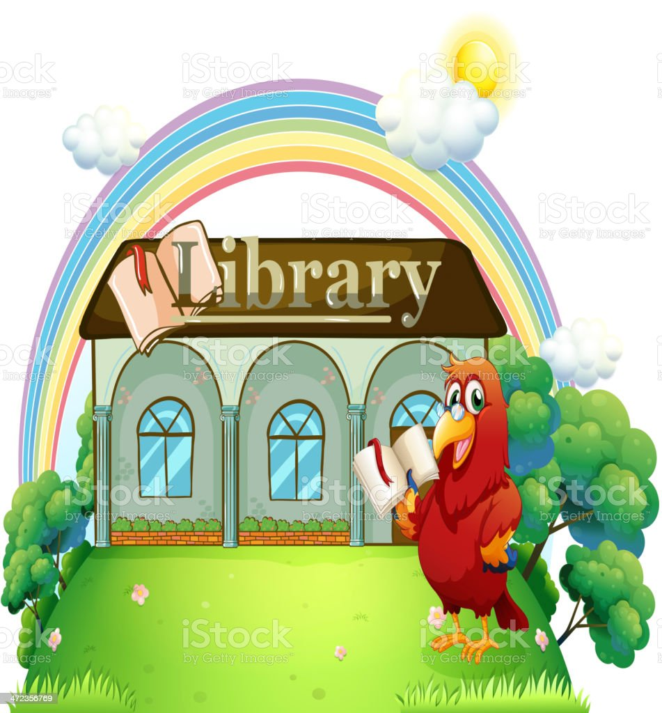 red parrot reading in front of the library royalty-free stock vector art