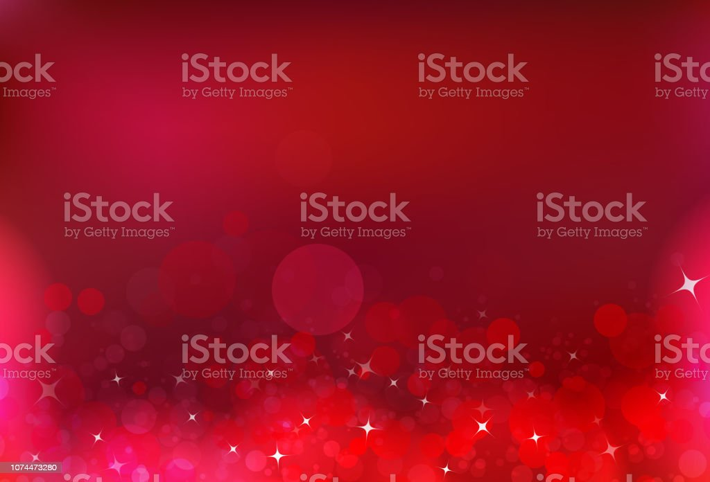Red party celebration bubble air magic stars dust light shiny blinking glitter fantasy blurry circle luxury abstract background vector art illustration