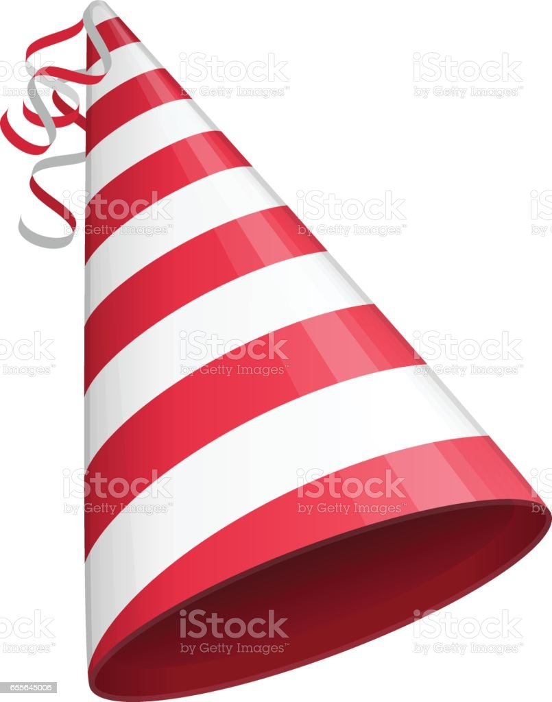 Red party hat. vector art illustration