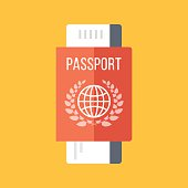 Red passport and boarding pass, airline ticket. Travel concept