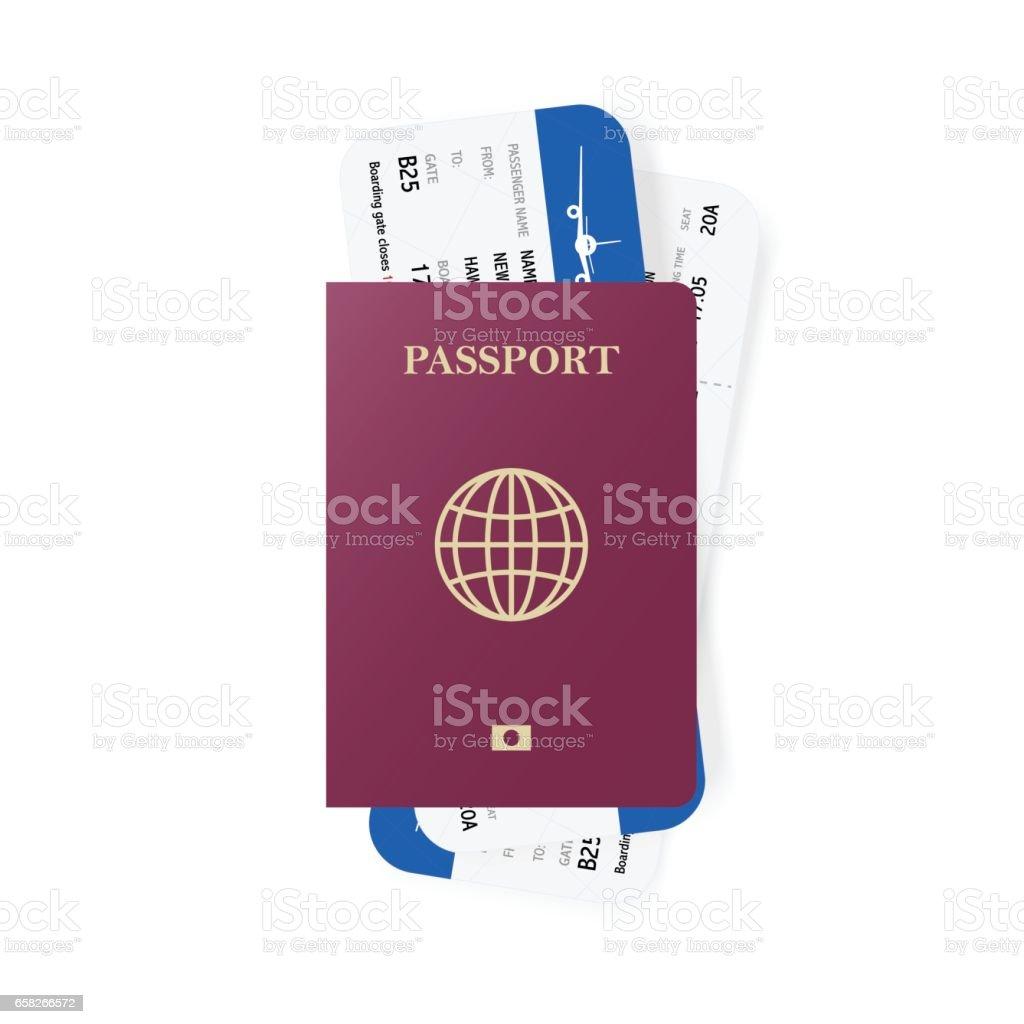 Roten Pass und Boarding pass Tickets. Realistisches Design. Vektor-Illustration. – Vektorgrafik