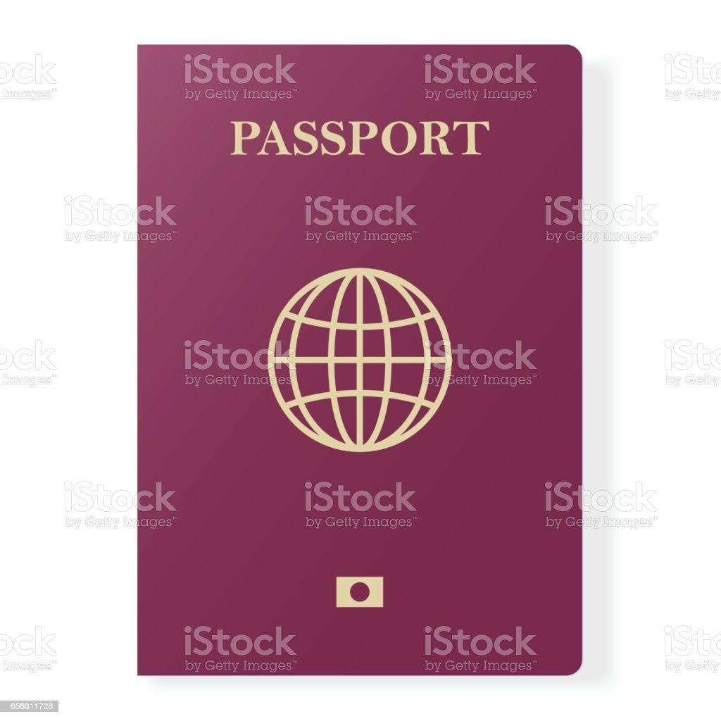 Red passport isolated on white. International identification document for travel. Vector illustration. vector art illustration
