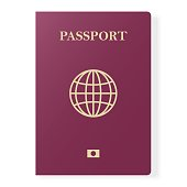 Red passport isolated on white. International identification document for travel. Vector illustration.