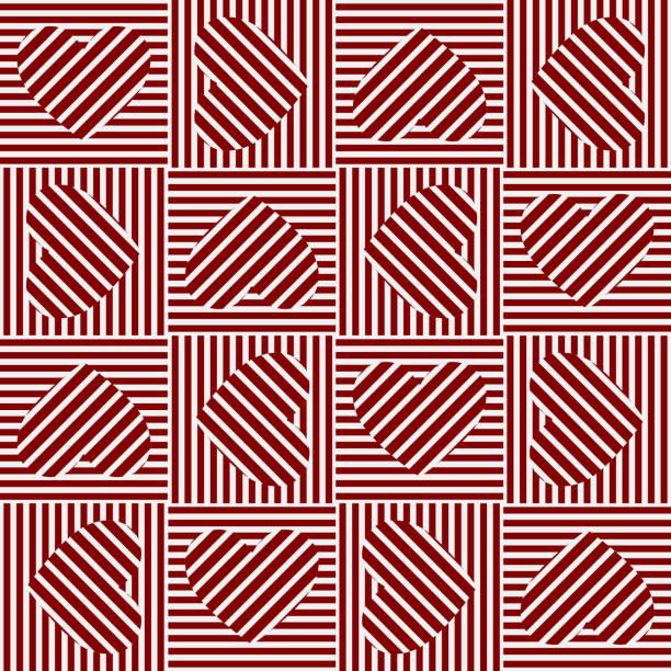 Red Pattern background. Love line pattern vector art illustration