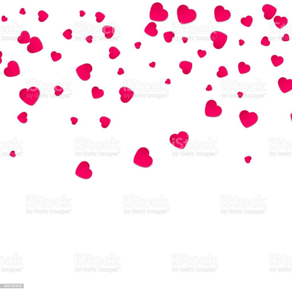 Red pattern of random falling hearts confetti border design element red pattern of random falling hearts confetti border design element for festive banner greeting stopboris Image collections