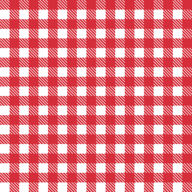 red patterns tablecloths stylish a illustration design. geometrical traditional ornament for fashion textile, cloth, backgrounds. vector illustration. - checked pattern stock illustrations