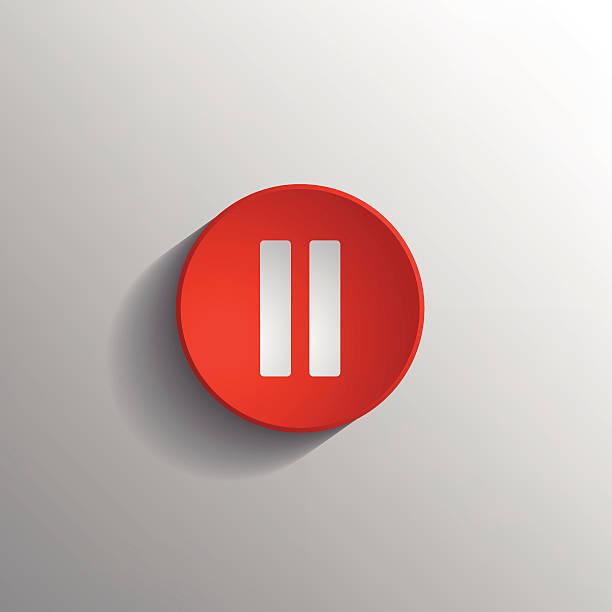 illustrazioni stock, clip art, cartoni animati e icone di tendenza di rosso icona pausa. - riposarsi