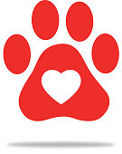 Vector illustration of a red paw print with a white heart on it.