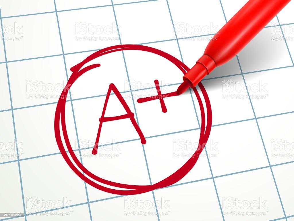 red pen writing A plus on paper vector art illustration