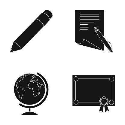 Rood Potlood Een Vel Papier Met Een Blauw Handvat Een Diploma Met Een Zegel Een Globe Op Een Stand School Instellen Collectie Iconen In Zwarte Stijl Vector Symbool Stock Illustratie Web Stockvectorkunst en meer beelden van Diploma