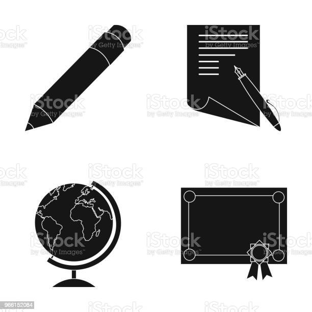 Red Pencil A Sheet Of Paper With A Blue Handle A Diploma With A Seal A Globe On A Standschool Set Collection Icons In Black Style Vector Symbol Stock Illustration Web — стоковая векторная графика и другие изображения на тему Без людей