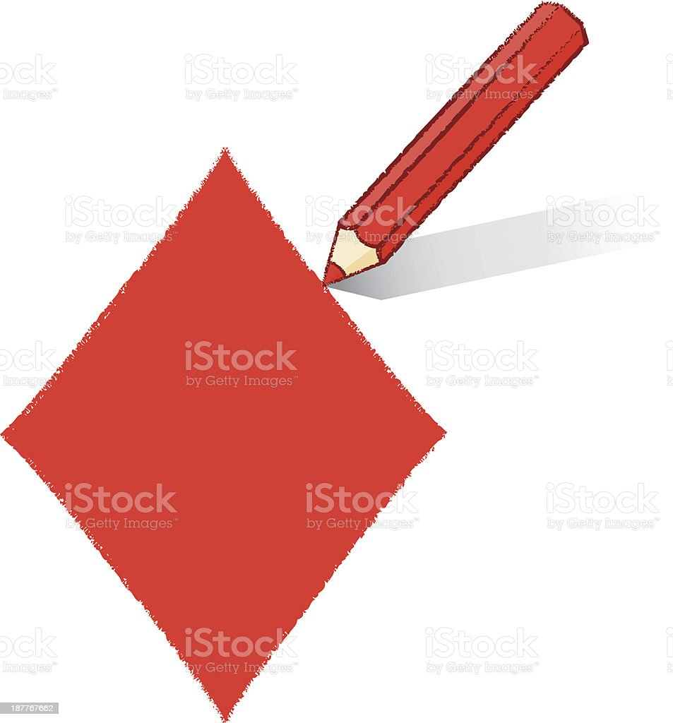 Red Pencil Drawing Ace of Diamonds Playing Card Icon royalty-free stock vector art