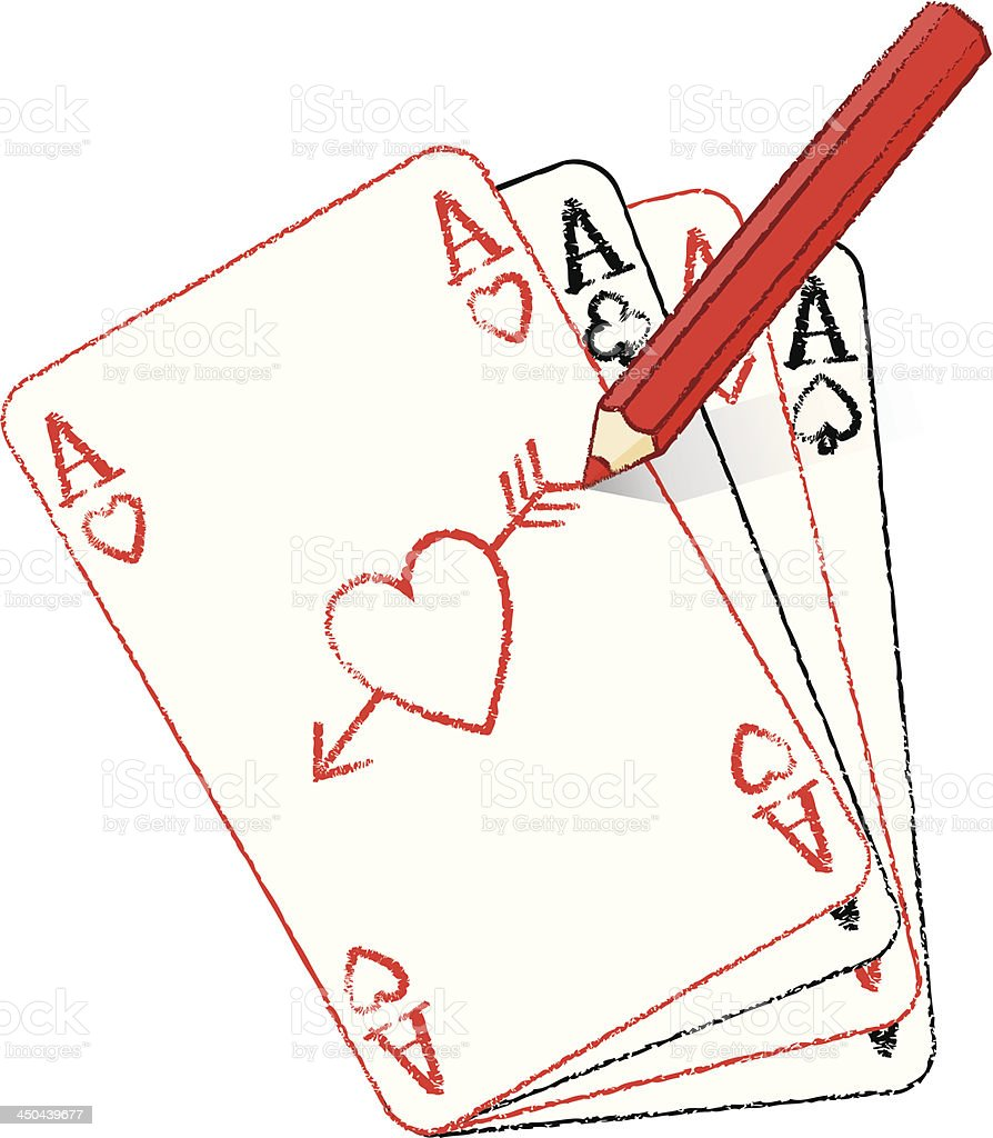 Red Pencil Drawing Ace of Hearts Fan with Cupid's Arrow royalty-free stock vector art