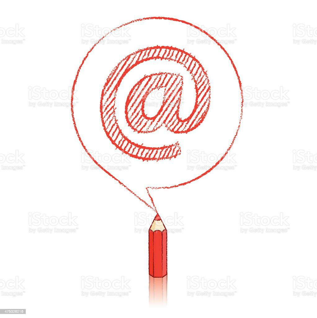 Red Pencil Drawing An At Sign In Round Speech Balloon Stock Vector