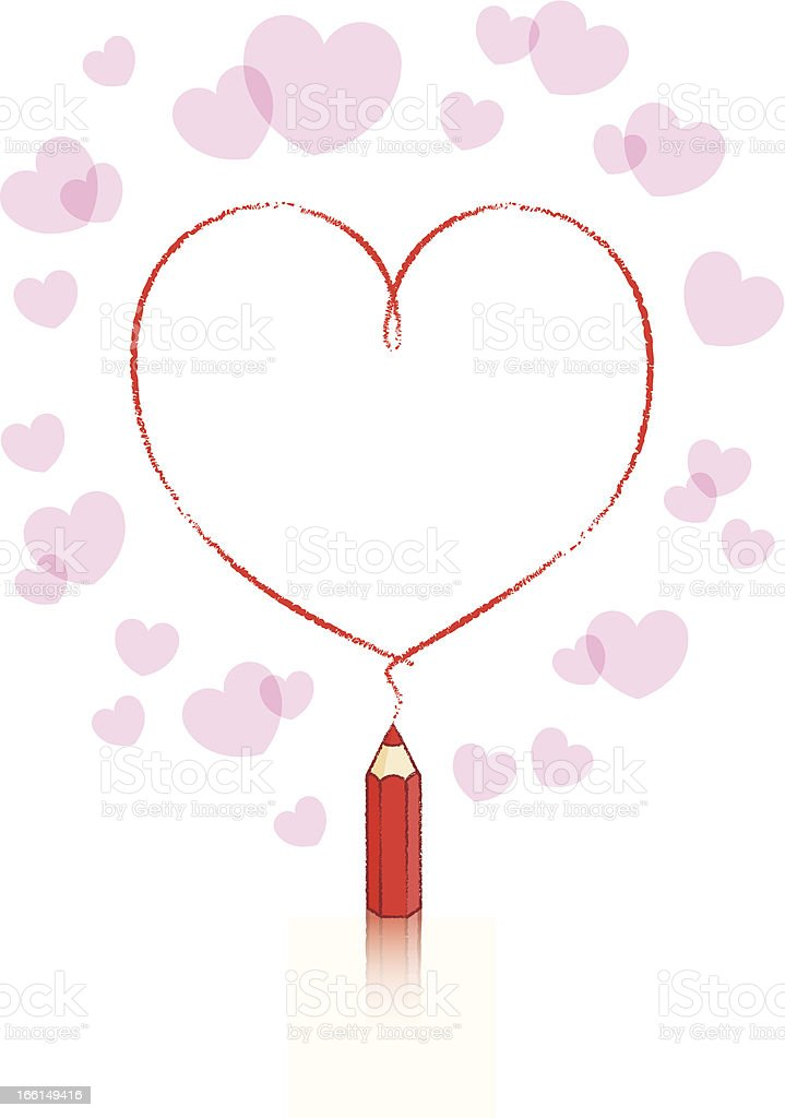 Red Pencil Drawing Heart Shape and Pink Border royalty-free stock vector art