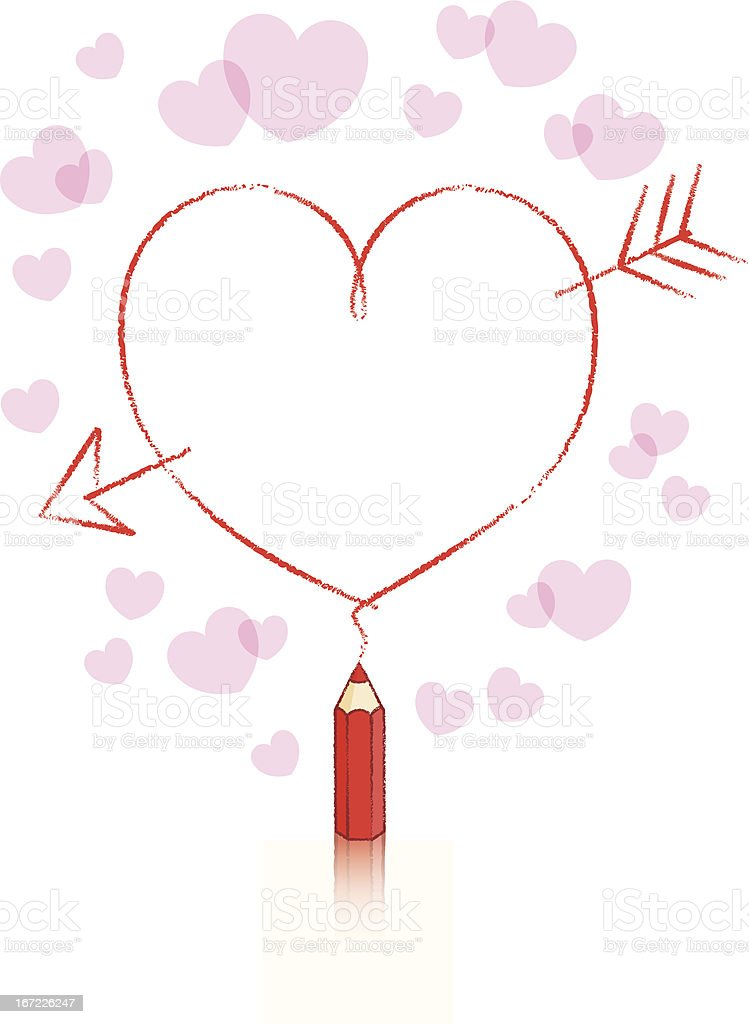 Red Pencil Drawing Heart Shape With Cupids Arrow
