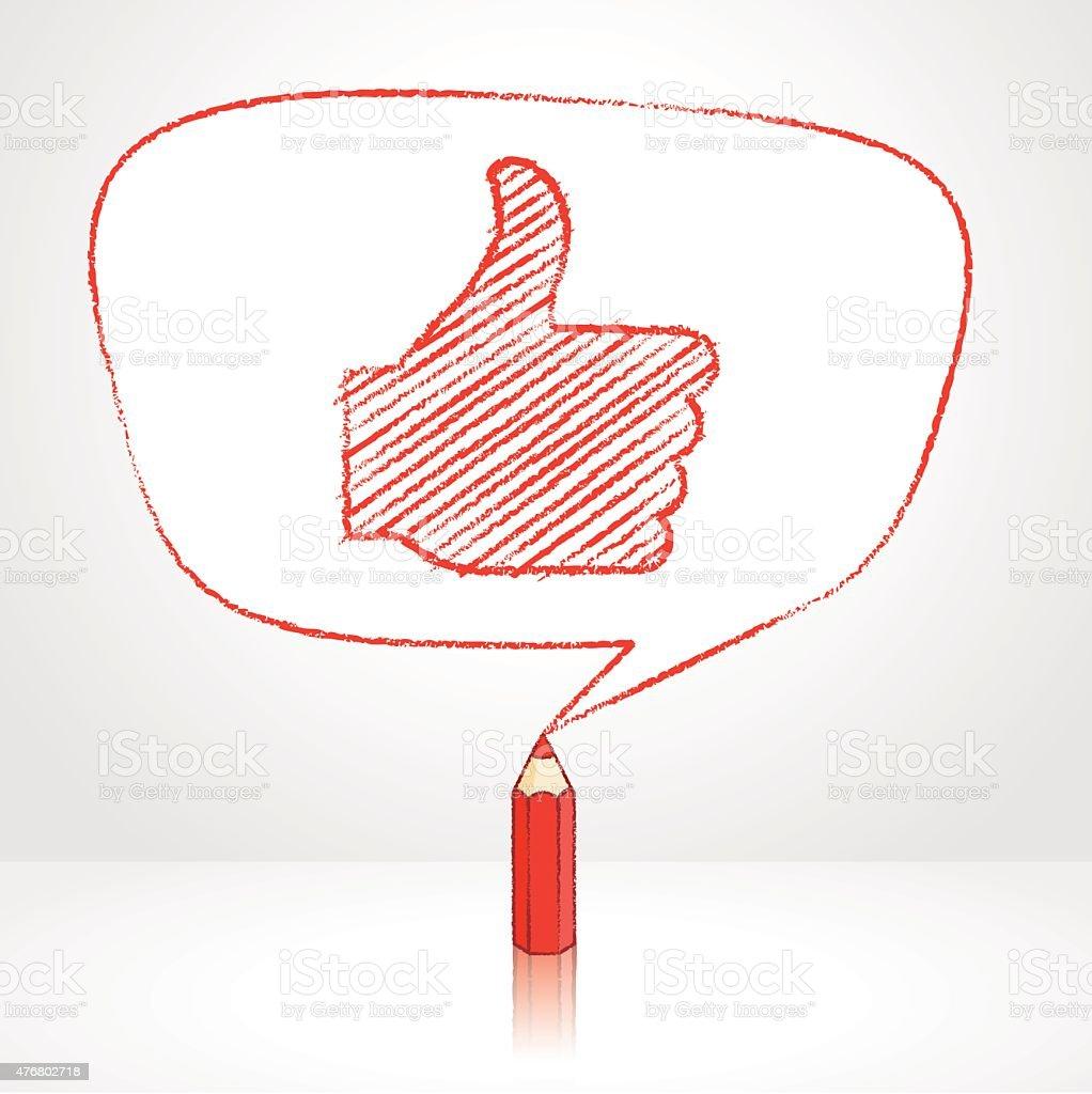 Desenho a Lápis vermelho como ícone em formato Irregular discurso de balão - ilustração de arte em vetor