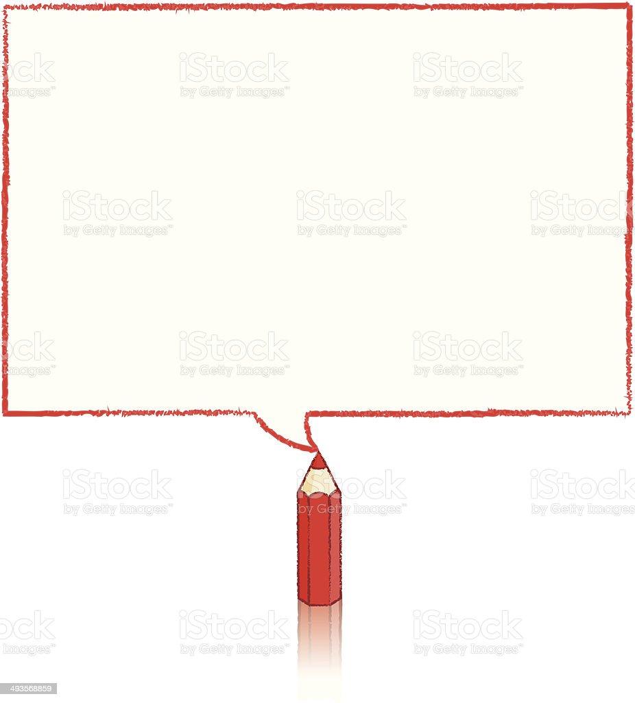 Red Pencil Drawing Rectangular Speech Balloon vector art illustration