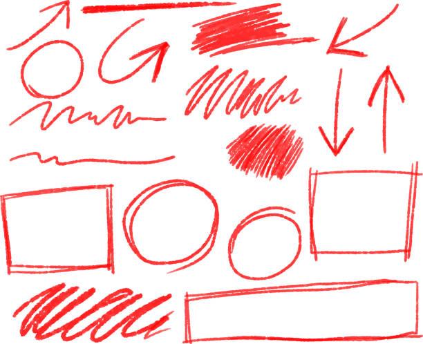 roten bleistift strichsatz - büro zukunft und niemand stock-grafiken, -clipart, -cartoons und -symbole