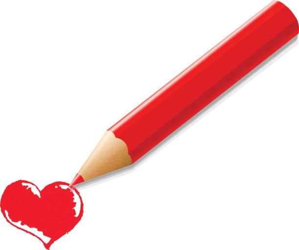 roter buntstift mit herz - korrekturlesen stock-grafiken, -clipart, -cartoons und -symbole