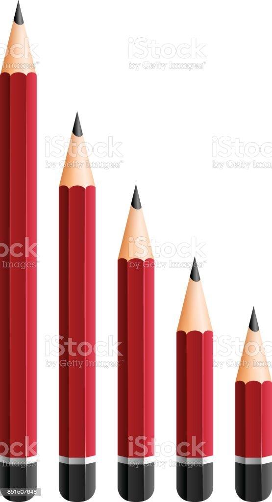 Rote Stifte in verschiedenen Größen – Vektorgrafik