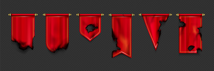 Red pennant flags different shapes with burnt edges and holes after fire or war. Vector realistic template of canvas pendants on gold pins, old torn textile pennons isolated on transparent background