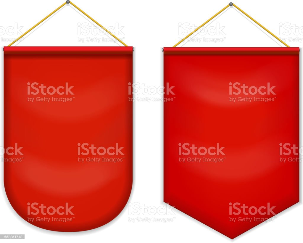 Red pennant hanging on the wall, mockup vector art illustration