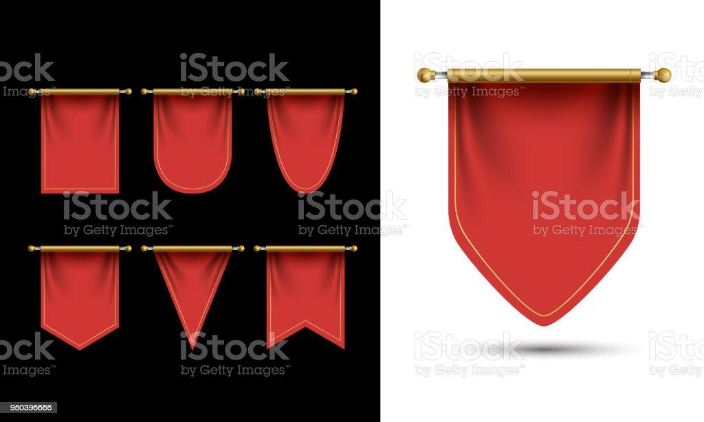 Vector de plantilla de banderín rojo. Espacio en blanco vacío banderín 3D. Ilustración realista - ilustración de arte vectorial
