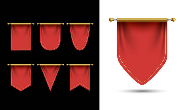 Red Pennant Template Vector. Empty 3D Pennant Blank. Realistic Illustration Red Pennant Template Vector. Empty 3D Pennant Blank. Realistic Illustration pennant stock illustrations
