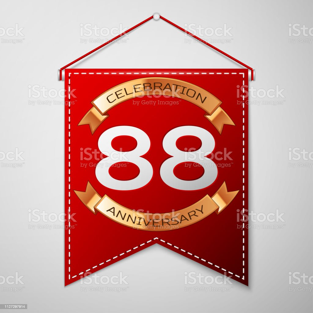 Red pennant with inscription Eighty eight Years Anniversary Celebration Design over a grey background. Golden ribbon. Colorful template elements for your birthday party. Vector illustration vector art illustration