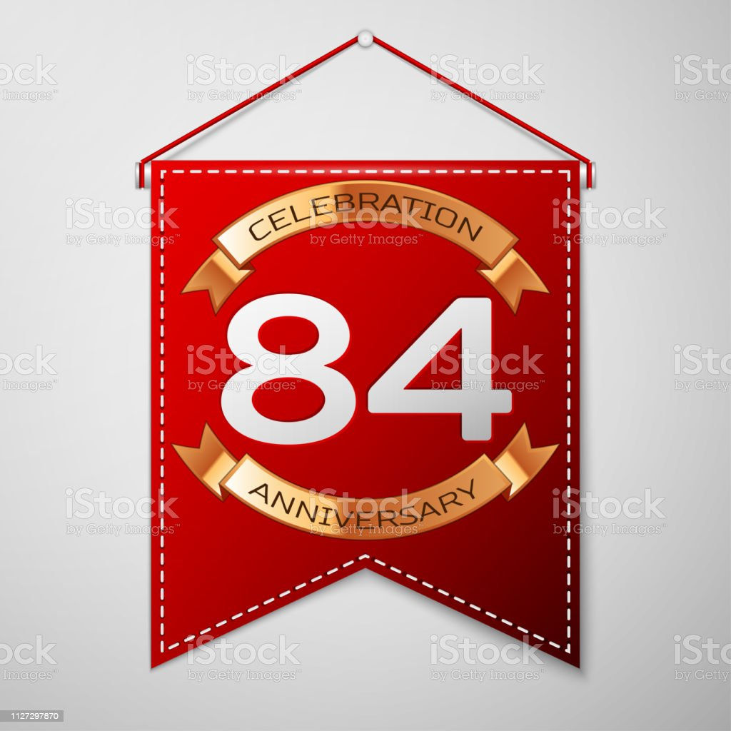 Red pennant with inscription Eighty four Years Anniversary Celebration Design over a grey background. Golden ribbon. Colorful template elements for your birthday party. Vector illustration vector art illustration