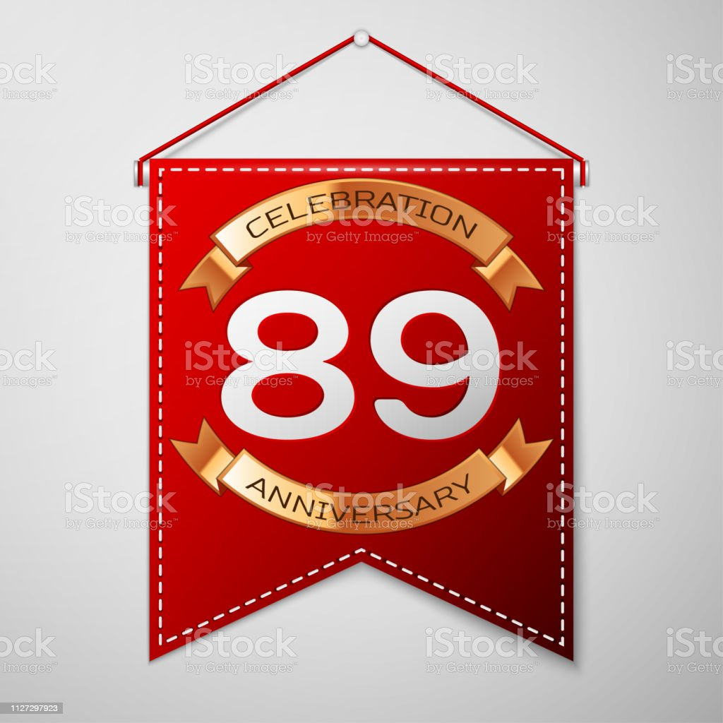 Red pennant with inscription Eighty nine Years Anniversary Celebration Design over a grey background. Golden ribbon. Colorful template elements for your birthday party. Vector illustration vector art illustration