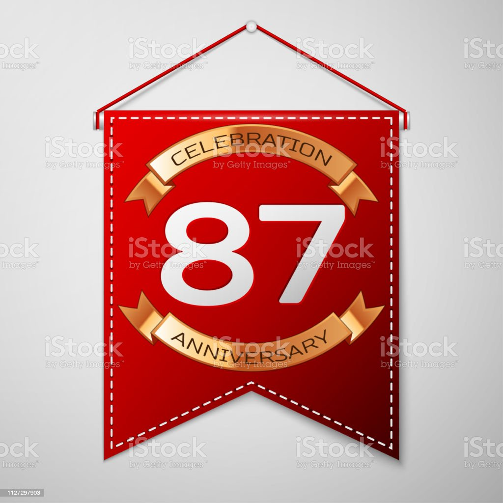 Red pennant with inscription Eighty seven Years Anniversary Celebration Design over a grey background. Golden ribbon. Colorful template elements for your birthday party. Vector illustration vector art illustration