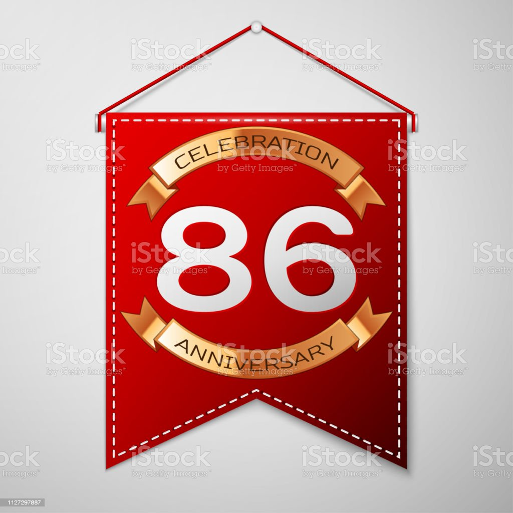 Red pennant with inscription Eighty six Years Anniversary Celebration Design over a grey background. Golden ribbon. Colorful template elements for your birthday party. Vector illustration vector art illustration